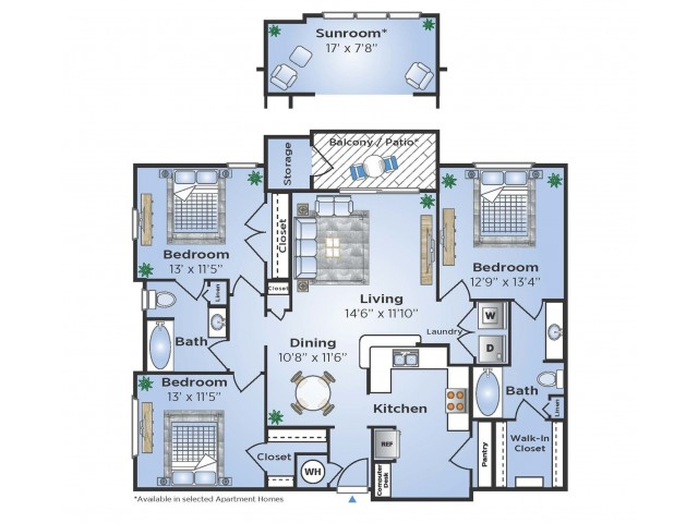 3 Bdrm Floor Plan | Apartments In Humble TX | Advenir at Eagle Creek
