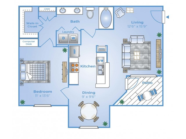 1 Bedroom Floor Plan   Apartments In North Houston Tx   Advenir at Stone Park