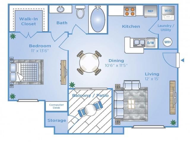 1 Bdrm Floor Plan   North Houston Tx Apartments   Advenir at Stone Park