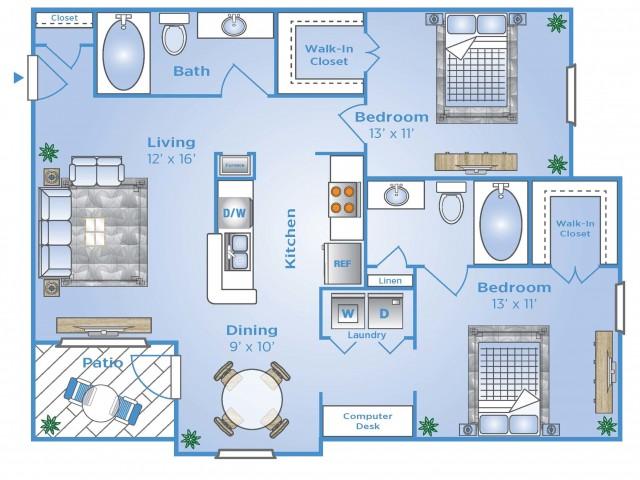 2 Bdrm Floor Plan   North Houston Apartments   Advenir at Stone Park
