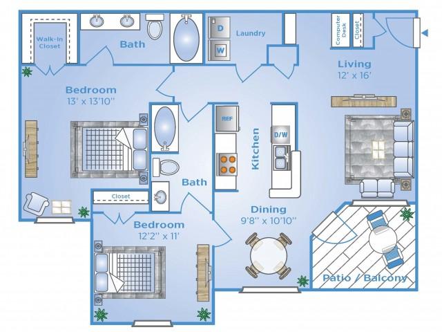 2 Bedroom Floor Plan   Apartments In North Houston   Advenir at Stone Park