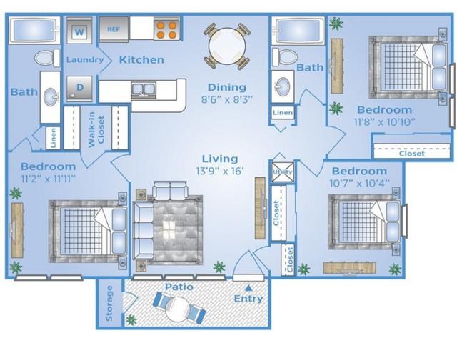 3 Bedroom Floor Plan | Apartments Near Winter Garden Fl | Advenir at the Oaks