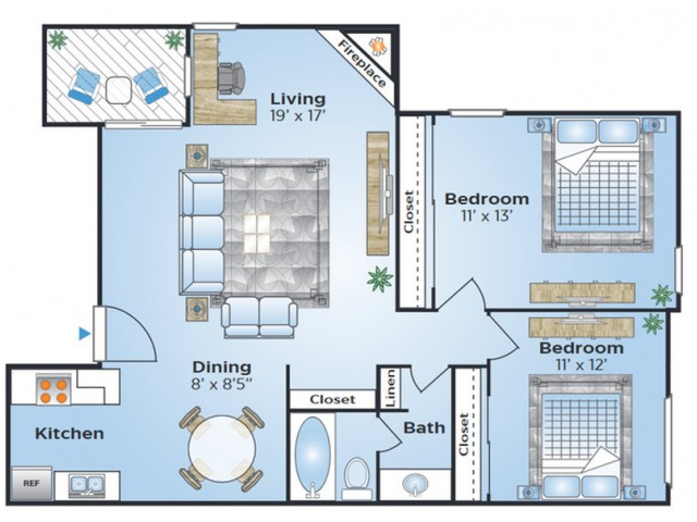 2 Bdrm Floor Plan | Apartments In Denver COlorado | Advenir at Bear Valley