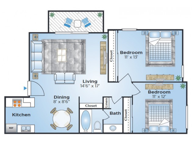 2 Bedroom Floor Plan | Apartments in Lakewood CO | Advenir at Bear Valley