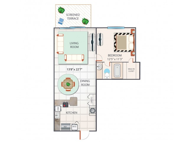 1 Bedroom Floor Plan | Palm Beach Gardens Apartments | Turnbury at Palm Beach Garden