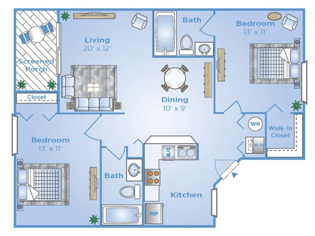 2 Bedroom Floor Plan | Apartments in Miami Gardens | Advenir at Walden Lake