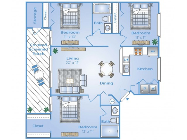 3 Bedroom Floor Plan | Apartments in Miami Lakes | Advenir at Walden Lake
