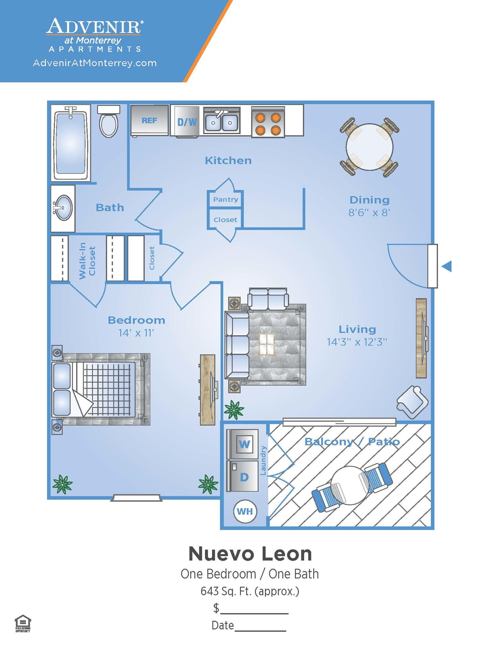 1 Bedroom Floor Plan | Venice FL Apartments | Advenir at Monterrey