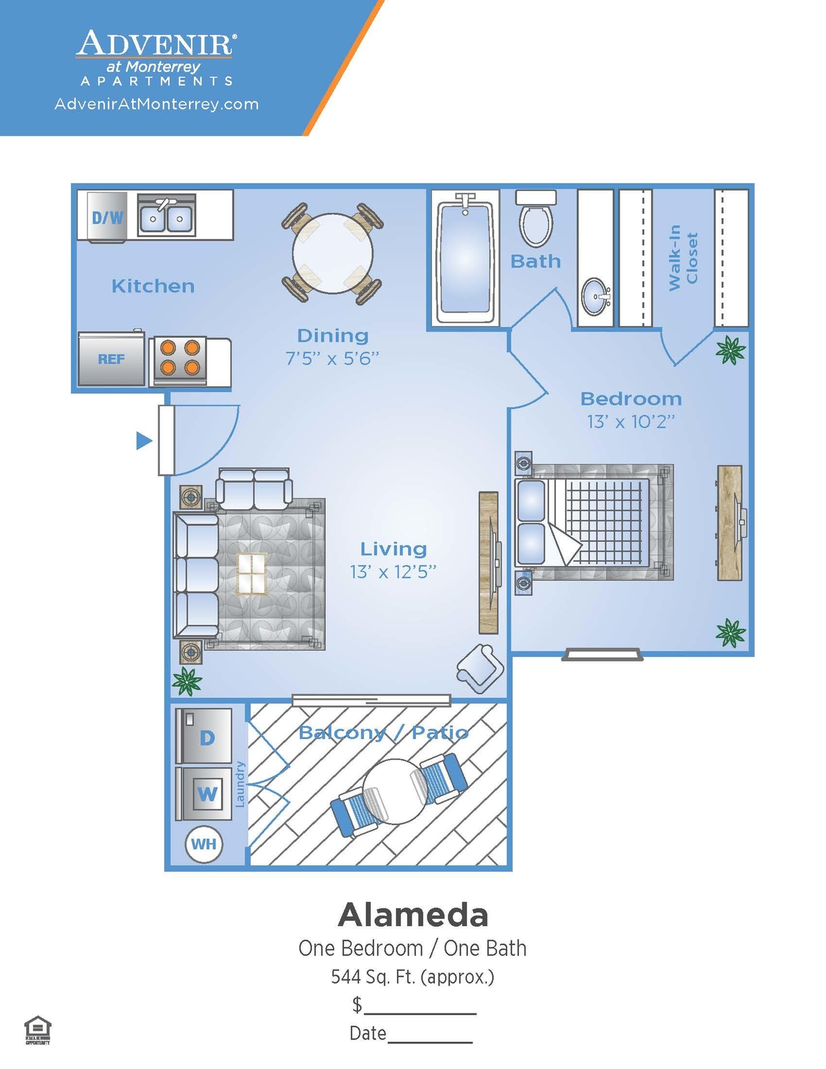 1 Bdrm Floor Plan | Apartments In Venice FL | Advenir at Monterrey