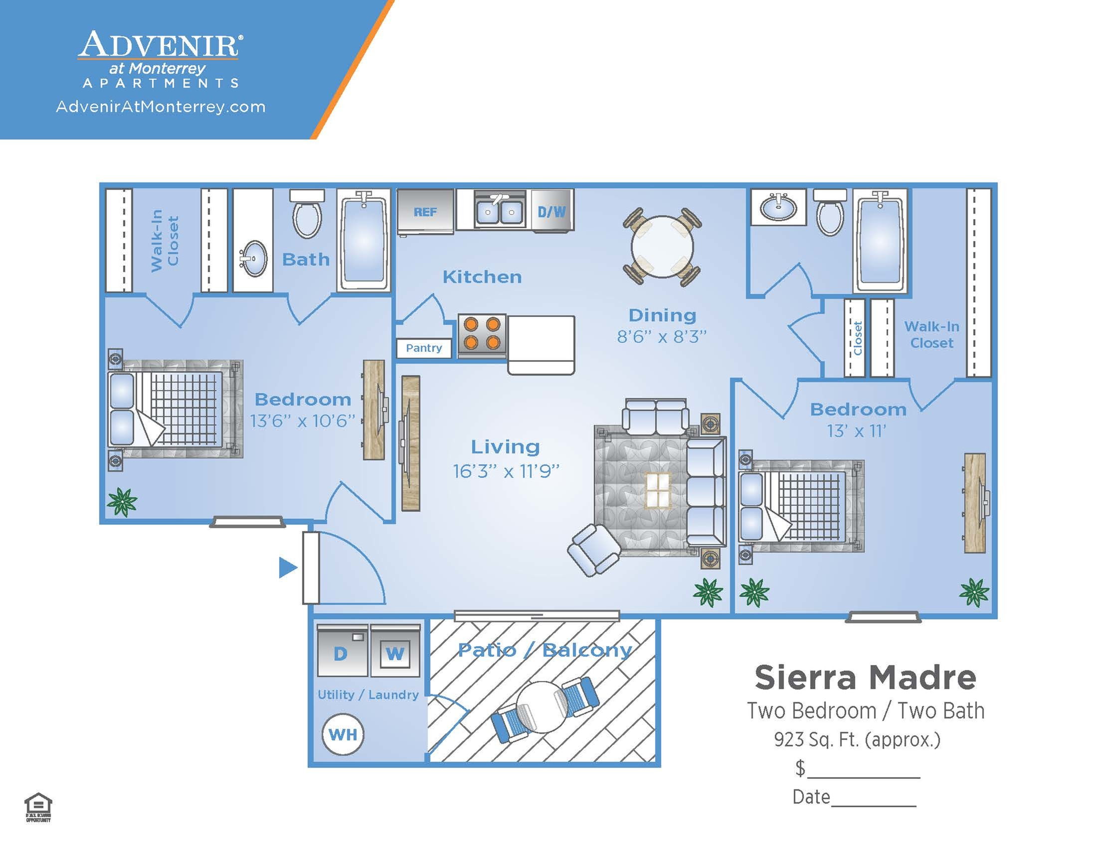 2 Bedroom Floor Plan | Venice Florida Apartments | Advenir at Monterrey