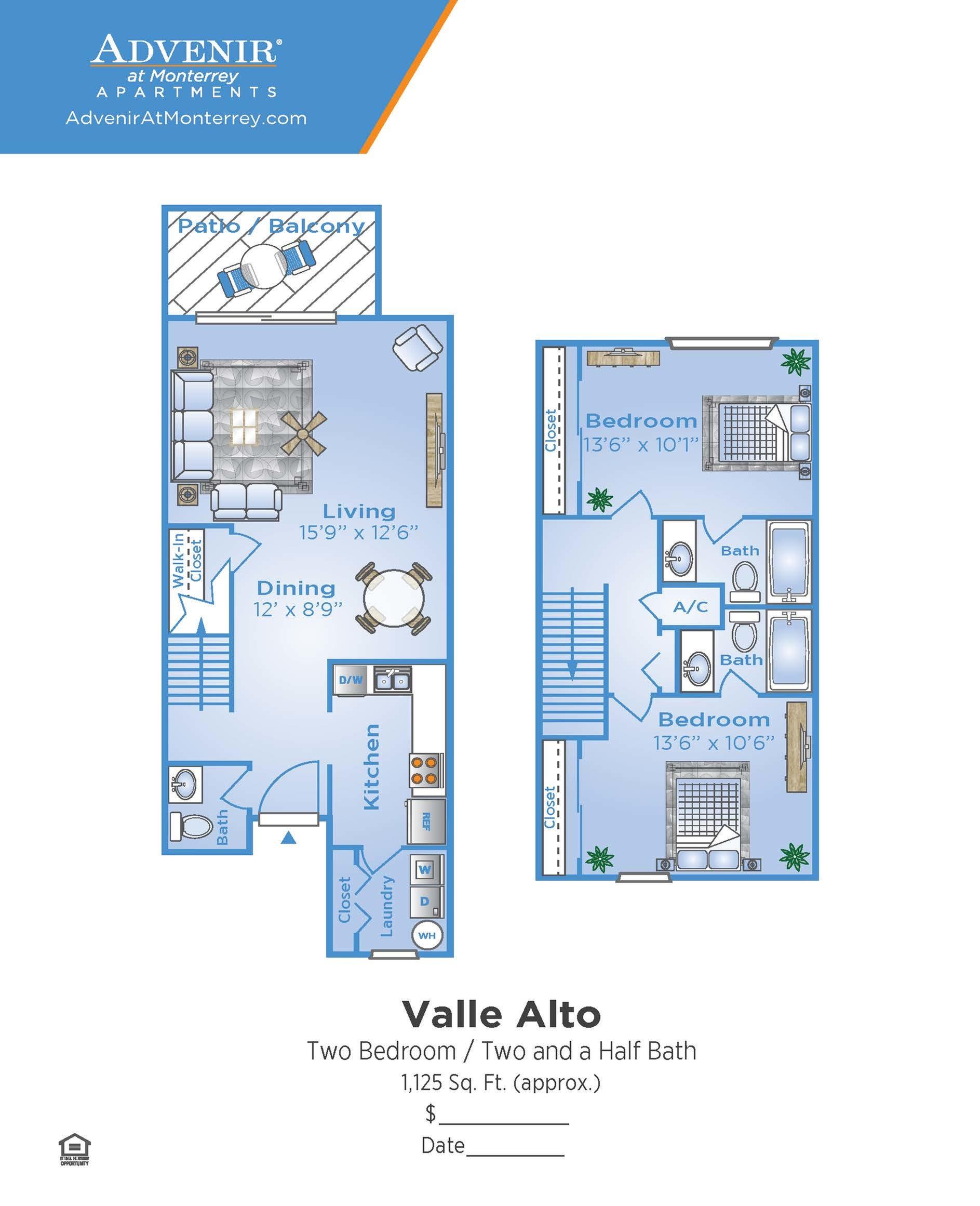 2 Bdrm Floor Plan | Apartments In Venice Florida For Rent | Advenir at Monterrey