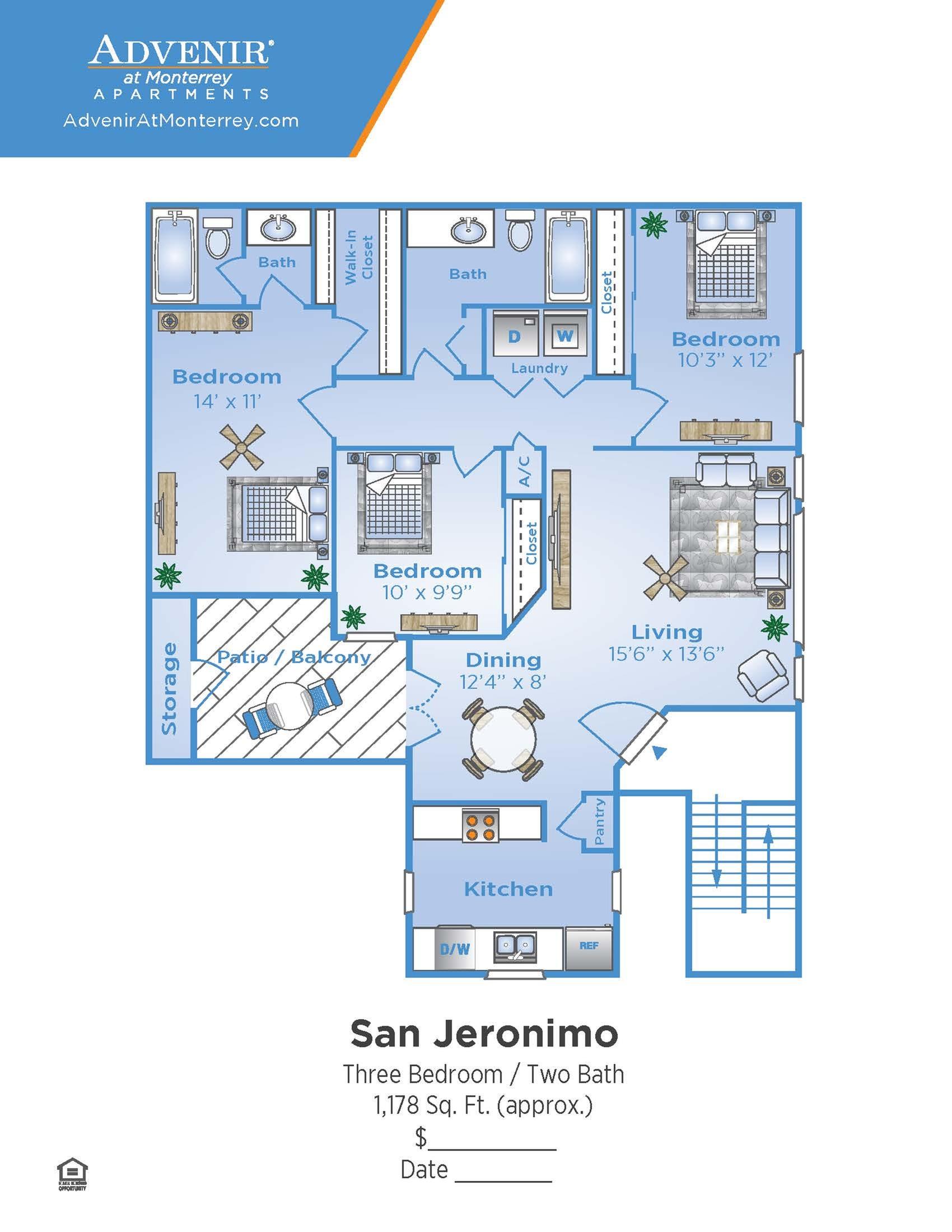 3 Bedroom Floor Plan | Apartments In Venice Florida | Advenir at Monterrey
