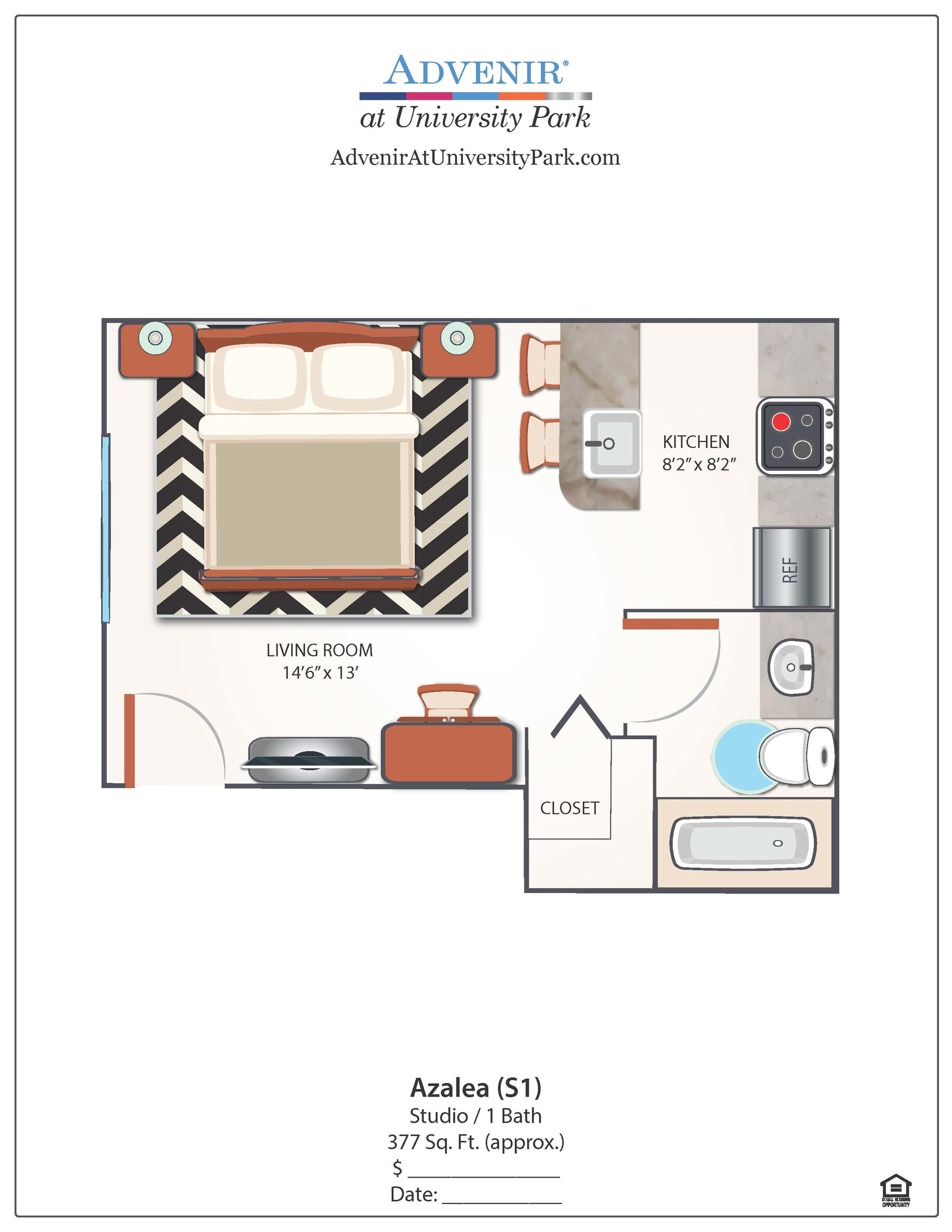 Studio Floor Plan | Apartments In Miami FLorida | Advenir at University Park