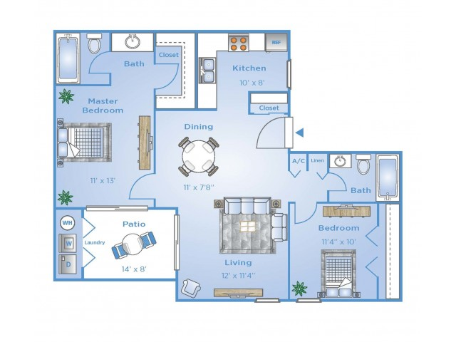 2 Bedroom Floor Plan | Boynton Beach Fl Apartments | Advenir at Banyan Lake