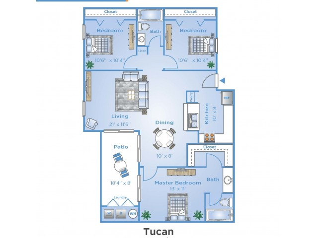 3 Bedroom Floor Plan | Apartments In Boynton Beach | Advenir at Banyan Lake