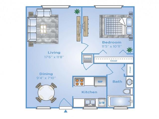 1 Bedroom Floor Plan | Pembroke Pines Apartments | Advenir at San Tropez