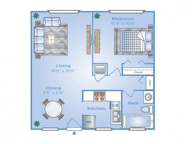 1 Bdrm Floor Plan | Apartments In Pembroke Pines | Advenir at San Tropez