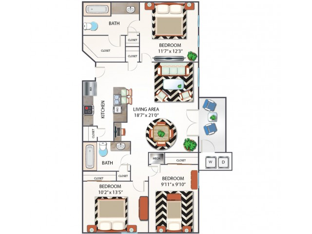 Three Bedroom Floor Plan | Apartments Midland TX | Advenir at Mayfield