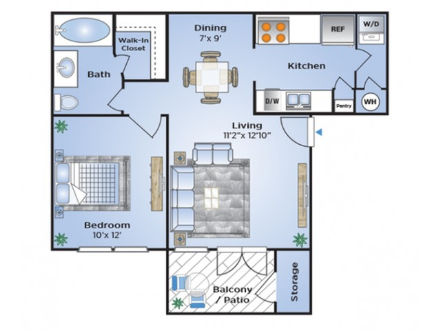 One Bedroom Floor Plan | Apartments Southwest Houston TX | Advenir at The Med Center