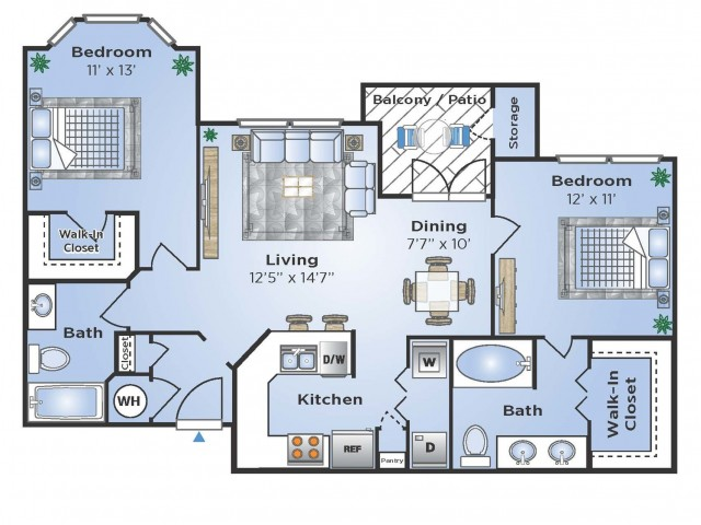 Two Bedroom Floor Plan | Apartments Southwest Houston TX | Advenir at The Med Center
