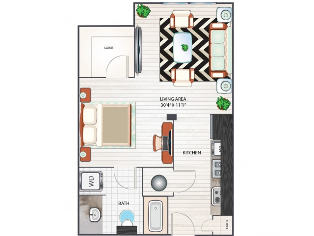 Studio Floor Plan | Apartments in West Columbia SC | Advenir at One Eleven
