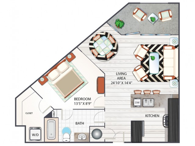One Bedroom Floor Plan | Apartments in West Columbia SC | Advenir at One Eleven