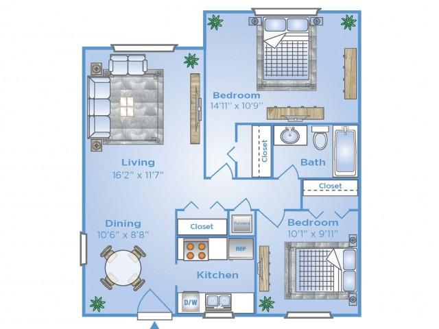 2 Bdrm Floor Plan | Apartments In Pembroke Pines | Advenir at San Tropez