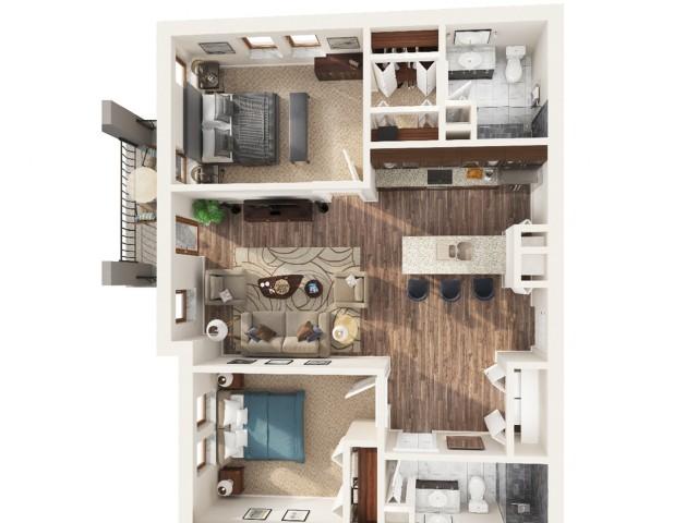 2 Bedroom Floor Plan | Apartments Odessa Tx | Advenir at Legado Ranch