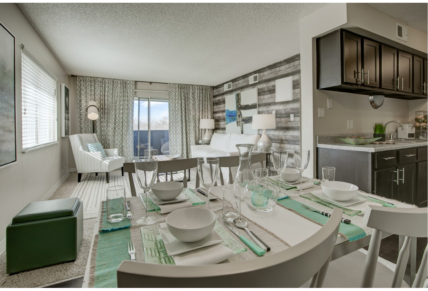 Living Room with Kitchen View apartments in cherry creek
