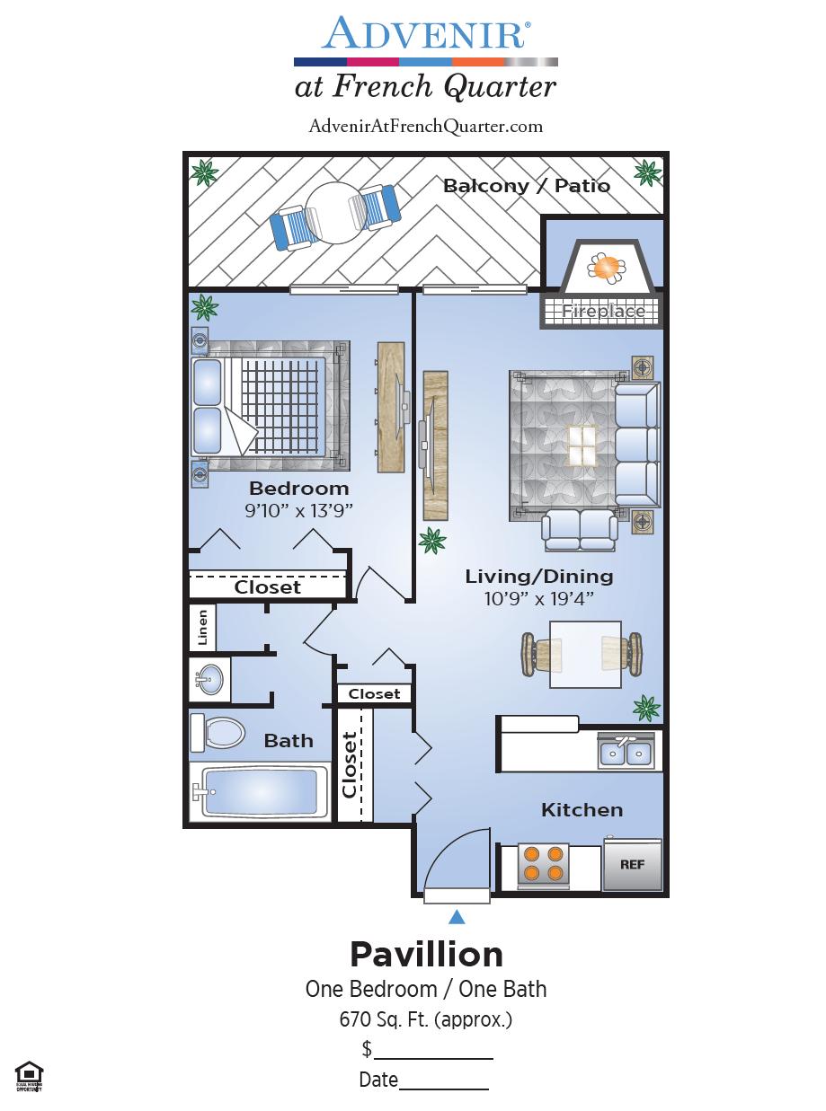 1 Bedroom Floor Plan | South Denver Apartments | Advenir at French Quarter