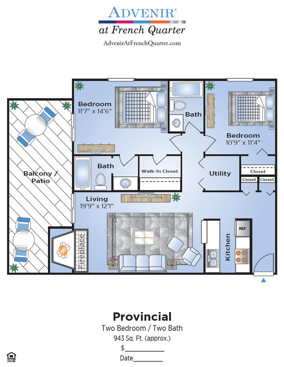 2 Bedroom Floor Plan | Denver Apartments | Advenir at French Quarter