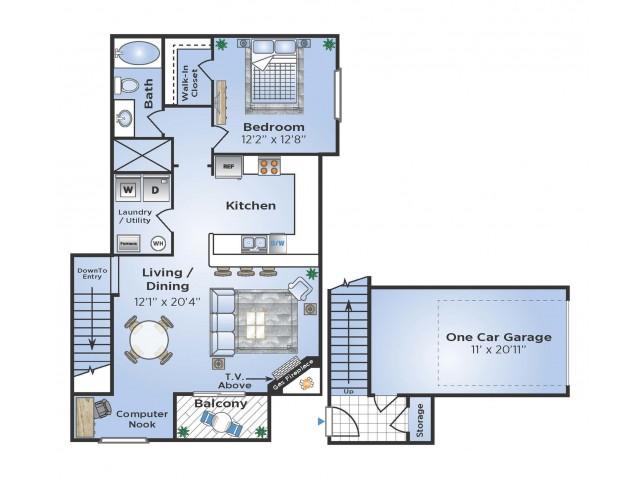 1 Bedroom Renovated Floor Plan   Apartments In Aurora Colorado