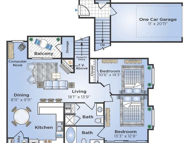 2 Bedroom Renovated Floor Plan   Apartments In Aurora Colorado