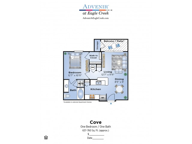 1 Bedroom Floor Plan | Apartments In Humble TX | Advenir at Eagle Creek