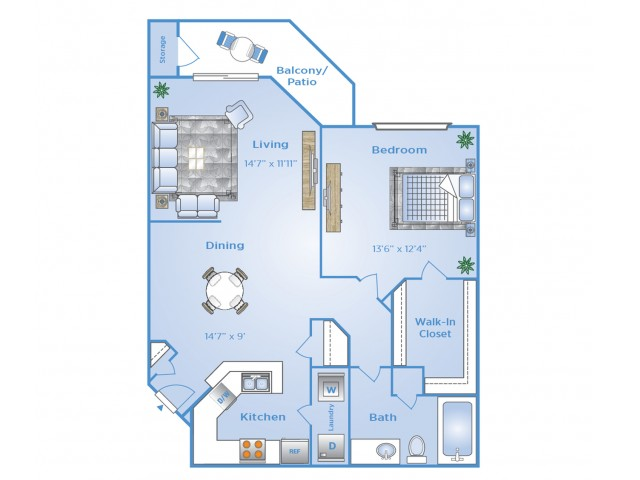 1 Bedroom Floor Plan | Apartments in North Dallas Tx | Advenir at Frankford Springs
