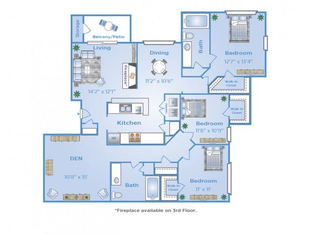 3 Bdrm Floor Plan | Apartments in North Dallas Tx | Advenir at Frankford Springs