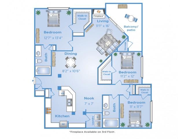 3 Bedroom Floor Plan | Apartments in Far North Dallas | Advenir at Frankford Springs