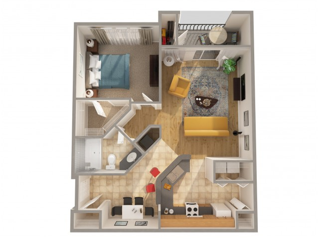 1 Bedroom Floor Plan | Apartments In New Smyrna Beach FL | Lyme Stone Ranch