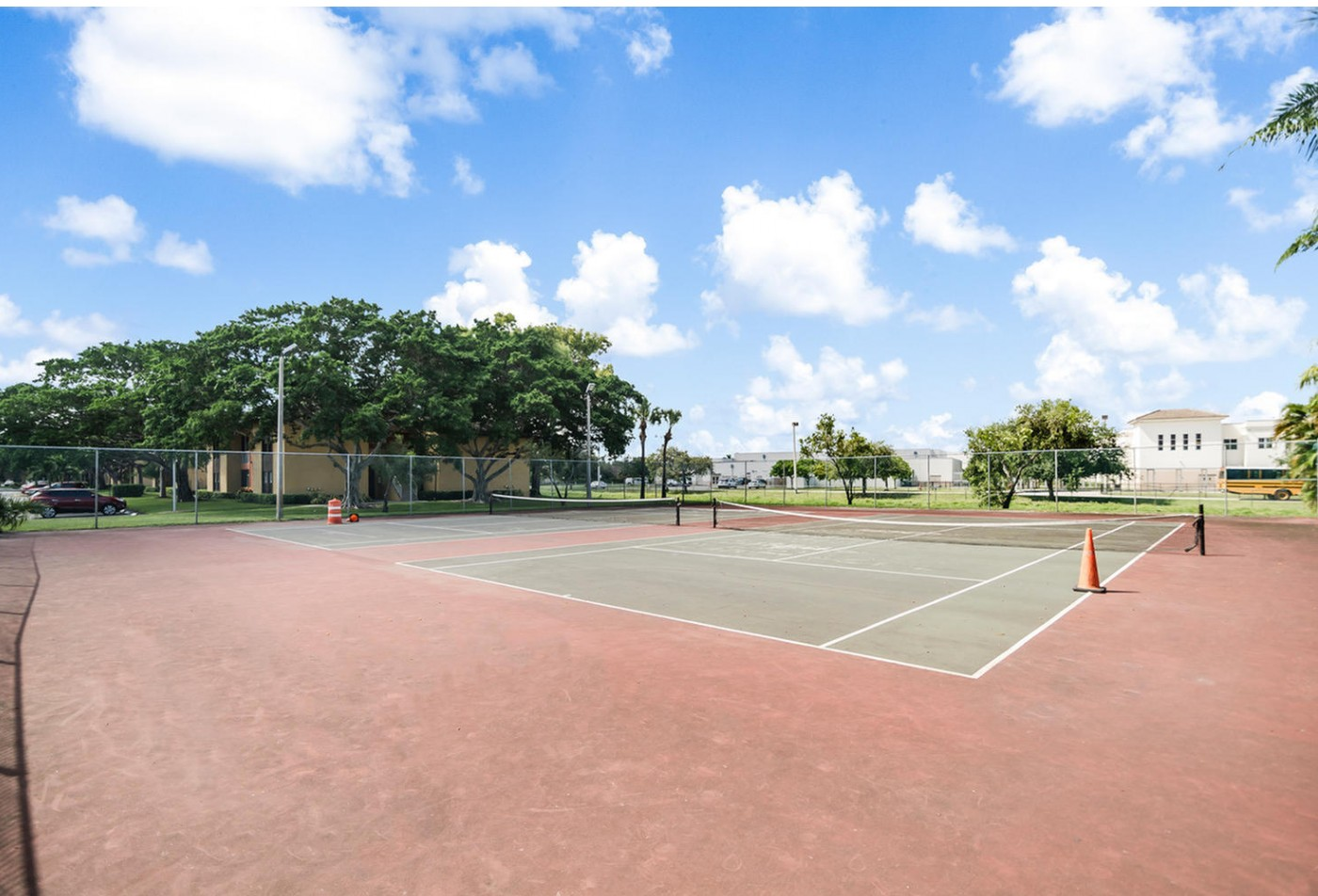 tennis courts at apartment community