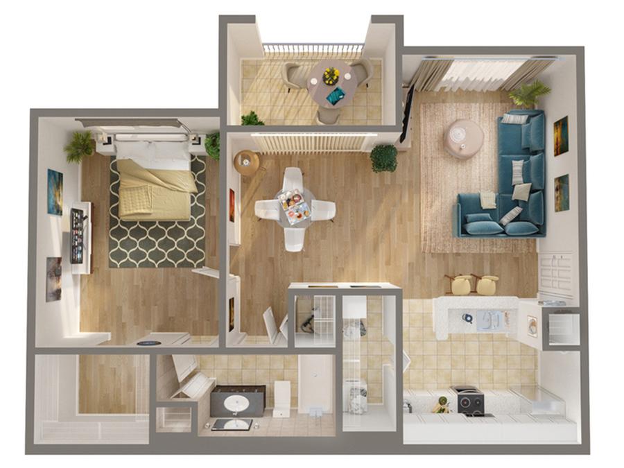 1 Bedroom Floor Plan   Luxury Apartments In Naples FLorida   Advenir at Aventine