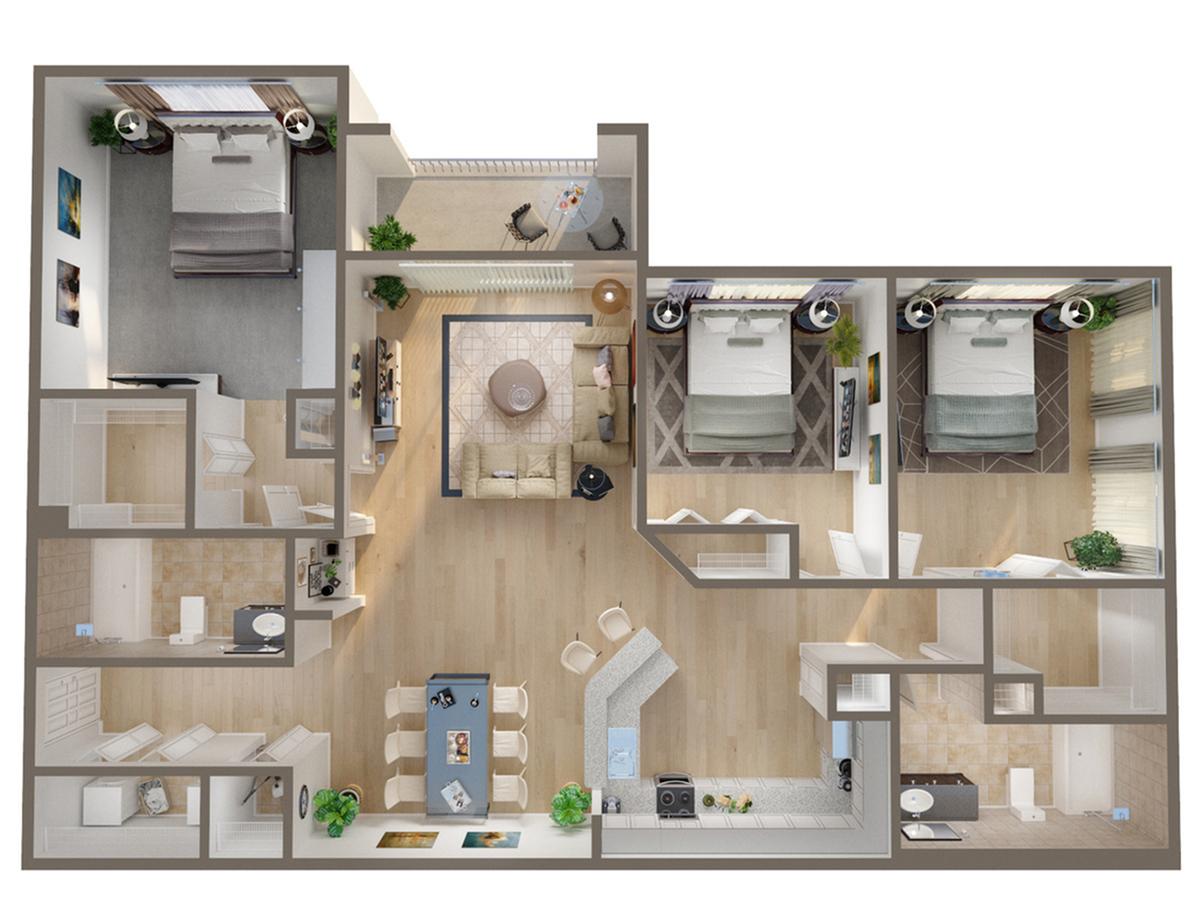 3 Bedroom Floor Plan   Naples Florida Apartments   Advenir at Aventine