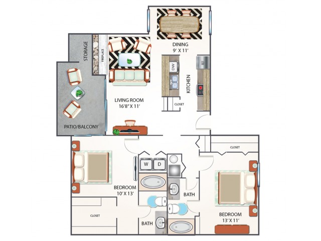 Two Bedroom Floor Plan | Apartments Midland TX | Advenir at The Meadows