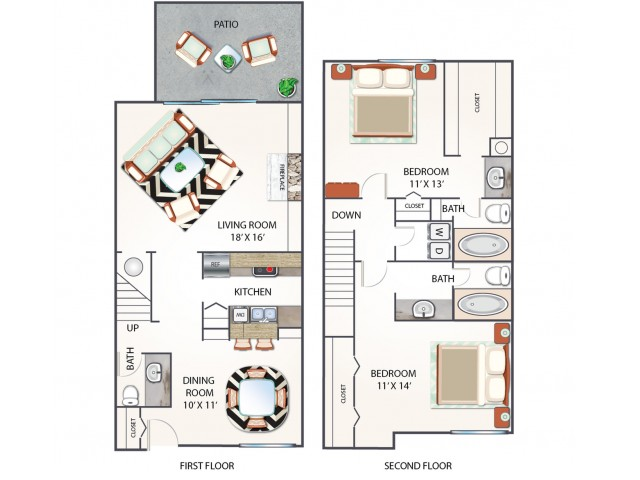 Townhome Floor Plan | Apartments Midland TX | Advenir at The Meadows