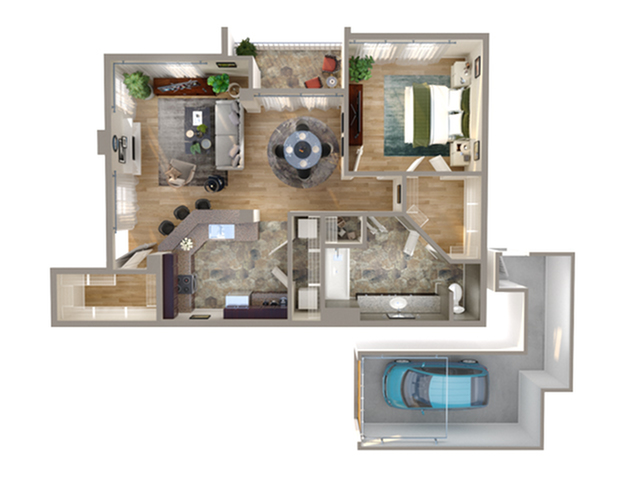1 Bedroom Floor Plan | Addison TX Townhomes | Advenir on Addison