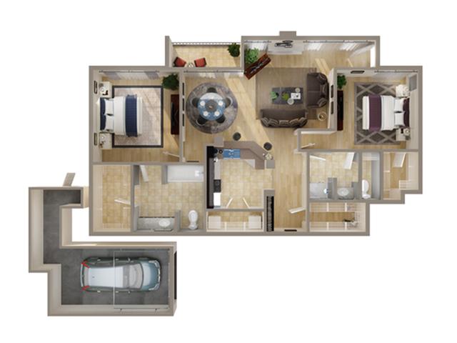 2 Bedroom Floor Plan | Apartments In Addison Texas | Advenir on Addison