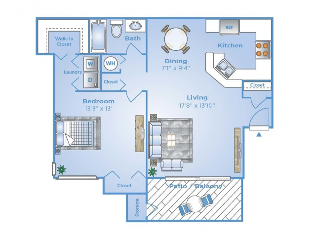 1 Bdrm Floor Plan | Boynton Beach Apartments | Advenir at La Costa