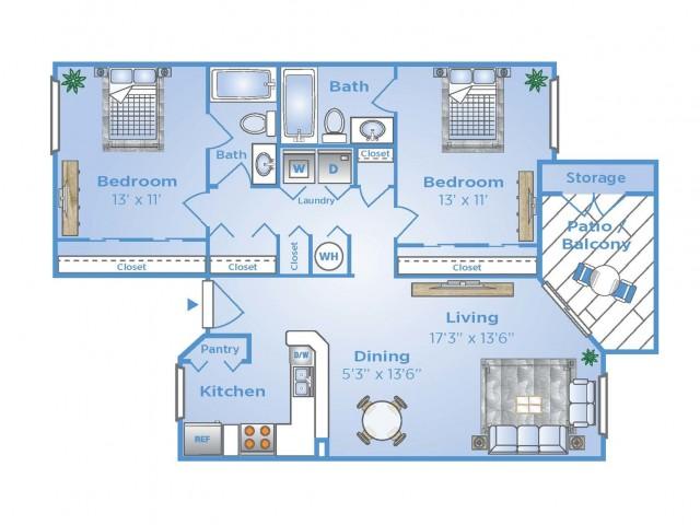 2 Bdrm Floor Plan | Boynton Beach Fl Apartments | Advenir at La Costa