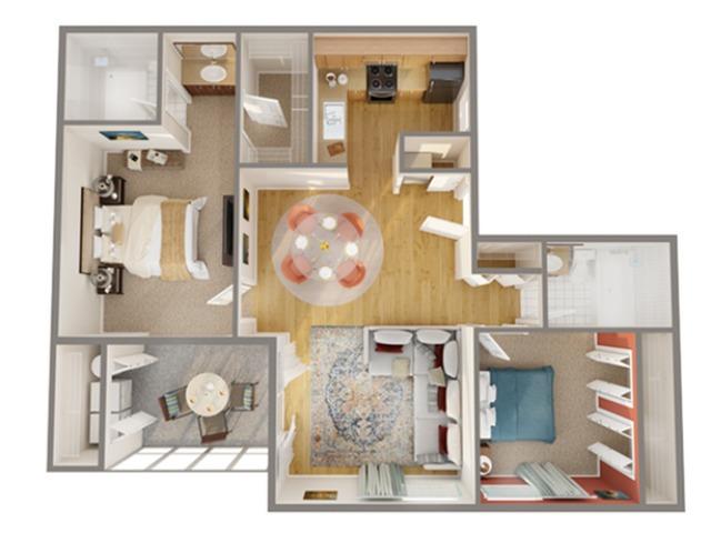 2 Bedroom Floor Plan | Boynton Beach Fl Apartments | Advenir at Banyan Lake