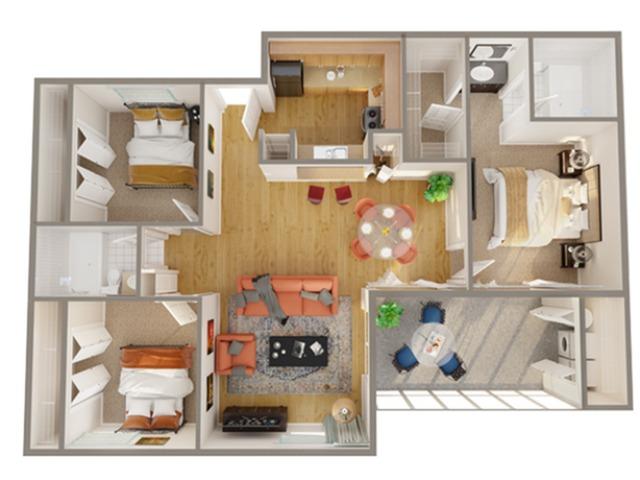 3 Bedroom Floor Plan | Apartments In Boynton Beach | Advenir at Banyan Lake