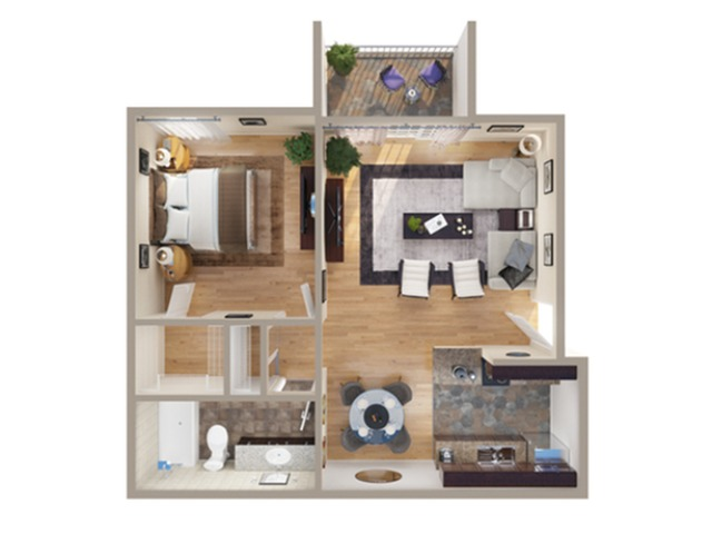 1 Bdrm Floor Plan | Apartments In Denver Colorado | Advenir at Bear Valley